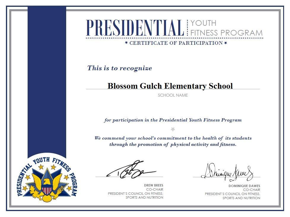 Presidential Youth Fitness Program Certificate