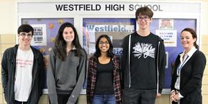 (L-R) Westfield High School seniors Mark Falletta, Madeline Stack, Mira Mehta, and Maxwell Scialabba earned perfect scores on August 2019 SAT subject tests.  Pictured here with WHS principal Mary Asfendis.