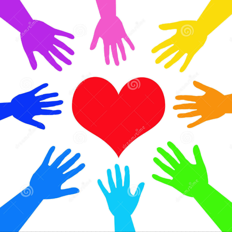 Colorful hands and a heart