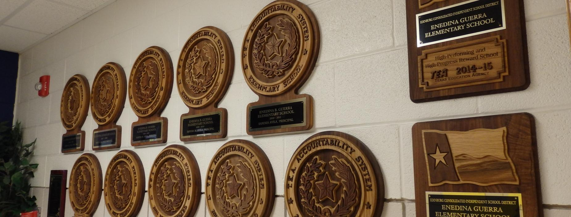 Image of Recognition plaques awarded to Guerra elementary.