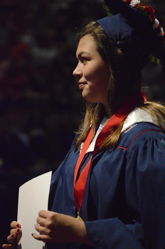 Female graduate at Wimberley High School 2018 Graduation