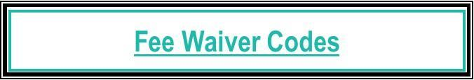 UCAW Fee Waiver Codes 2019