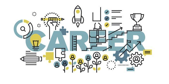 The word Career surrounded by digital images of various careers