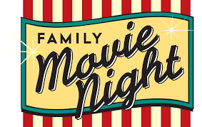 the word family movie night in black lettering with background red and white lines
