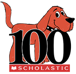 clifford the big red dog behind the numeral 100 for scholastic inc