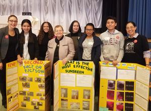 dr. Makar, with uhms ms. velazquez, her students, with superintendent abatto with president pena