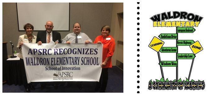 image of four people holding a banner, 'APSRC Recognizes Waldron Elementary School as a School of Innovation