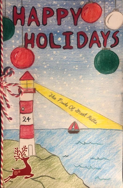 Holiday drawing of lighthouse in the snow