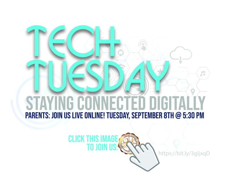 Attention Parents: Join us on Tuesday, September 8 at 5:30 for our live Tech Tuesday webinar!   /   Atención padres: ¡Únase a nosotros el martes 8 de septiembre a las 5:30 para nuestro seminario web en vivo Tech Tuesday! Featured Photo