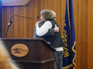 Betty Palmer and Mark Witty Hugging