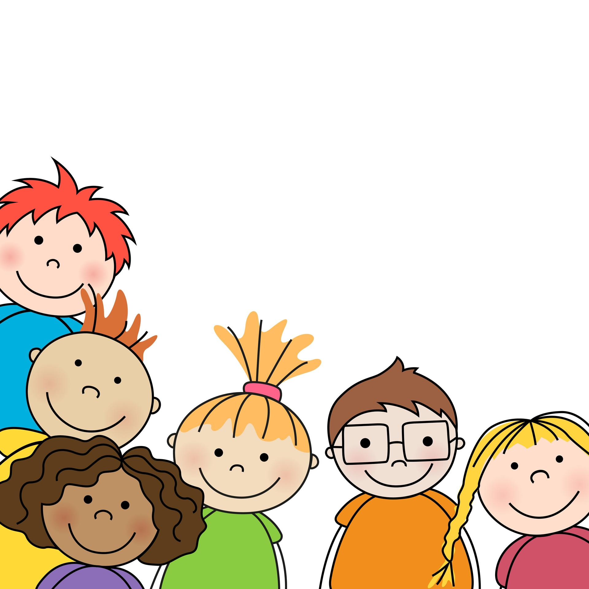 Smiling kindergarten and TK children (graphic illustration)