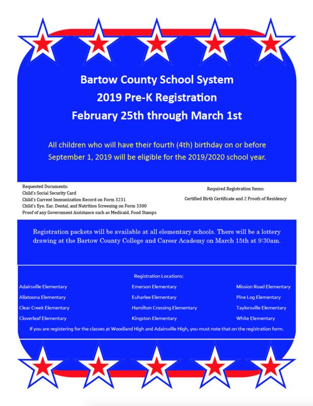Pre-K registration information flyer