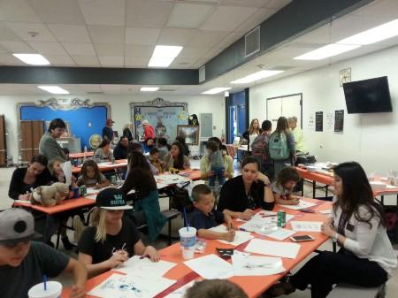 Parent and Students drawing Cartoons