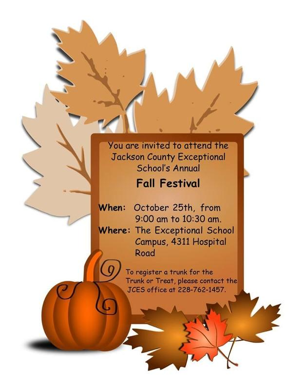 Join us at the Jackson County Exceptional School 9-10:30 a.m. , Friday, Oct. 25, 2019, for the annual Fall Festival and Trunk or Treat!