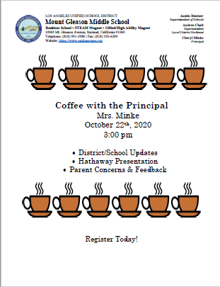 Coffee With The Principal 10 22 2020 at 3:00 PM