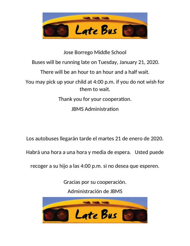 Late Buses Will Be Expected Tuesday, January 21, 2020 Featured Photo