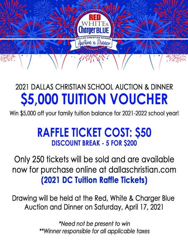 Red, White & Charger Blue Raffle - TUITION VOUCHER Featured Photo