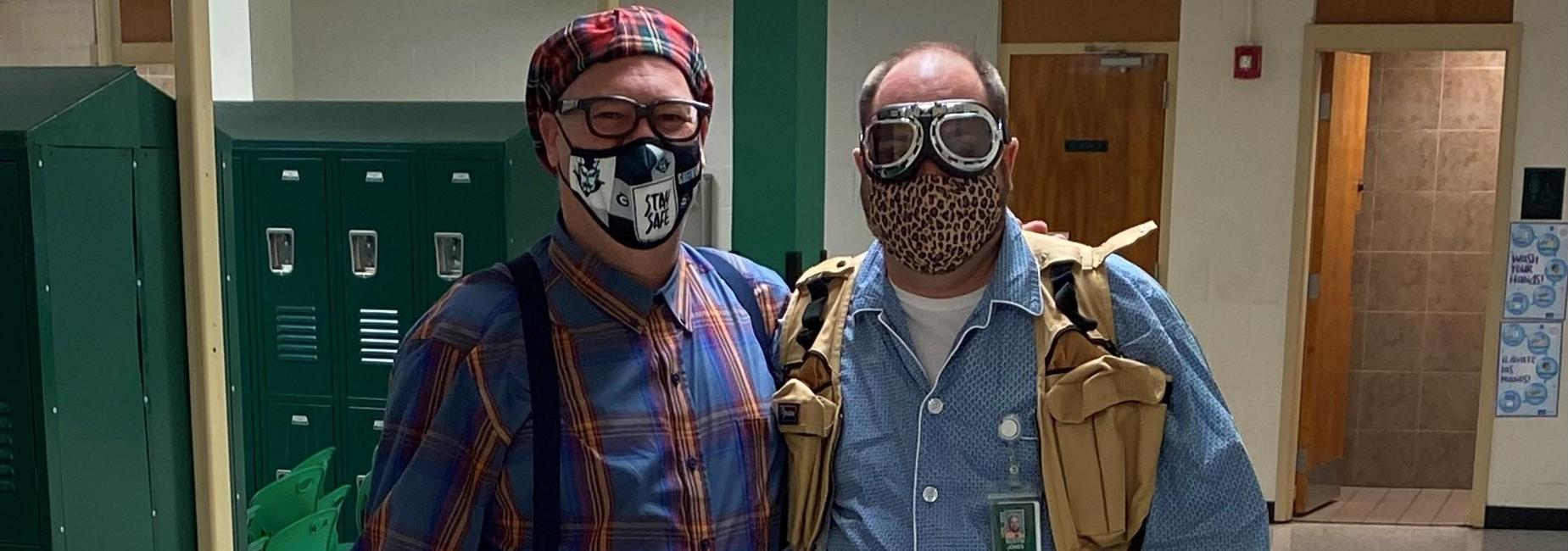 a picture of two teachers dressed silly