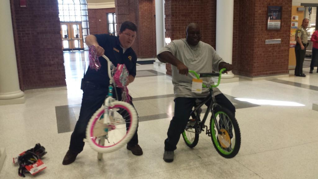 CCPS Staff enjoying prize bikes