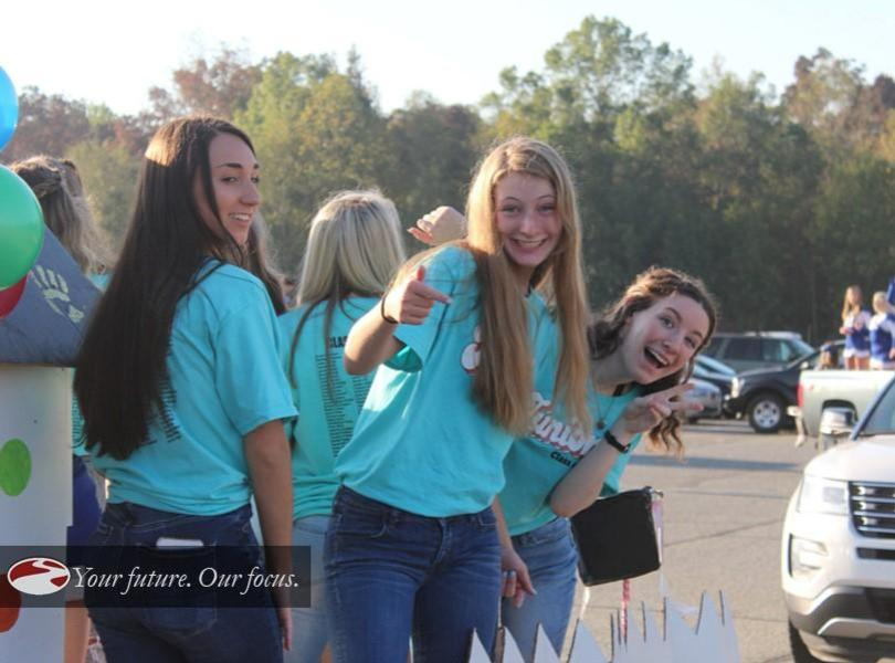 Students participating in homecoming parade