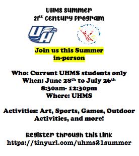 UHMS Summer program flyer