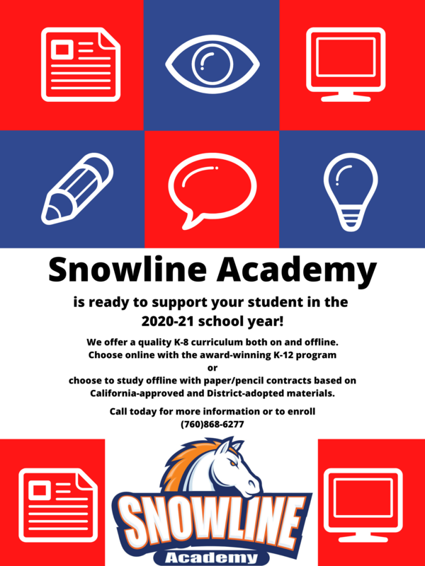 Snowline Academy now has paper/pencil packet options for K-8 students! Featured Photo