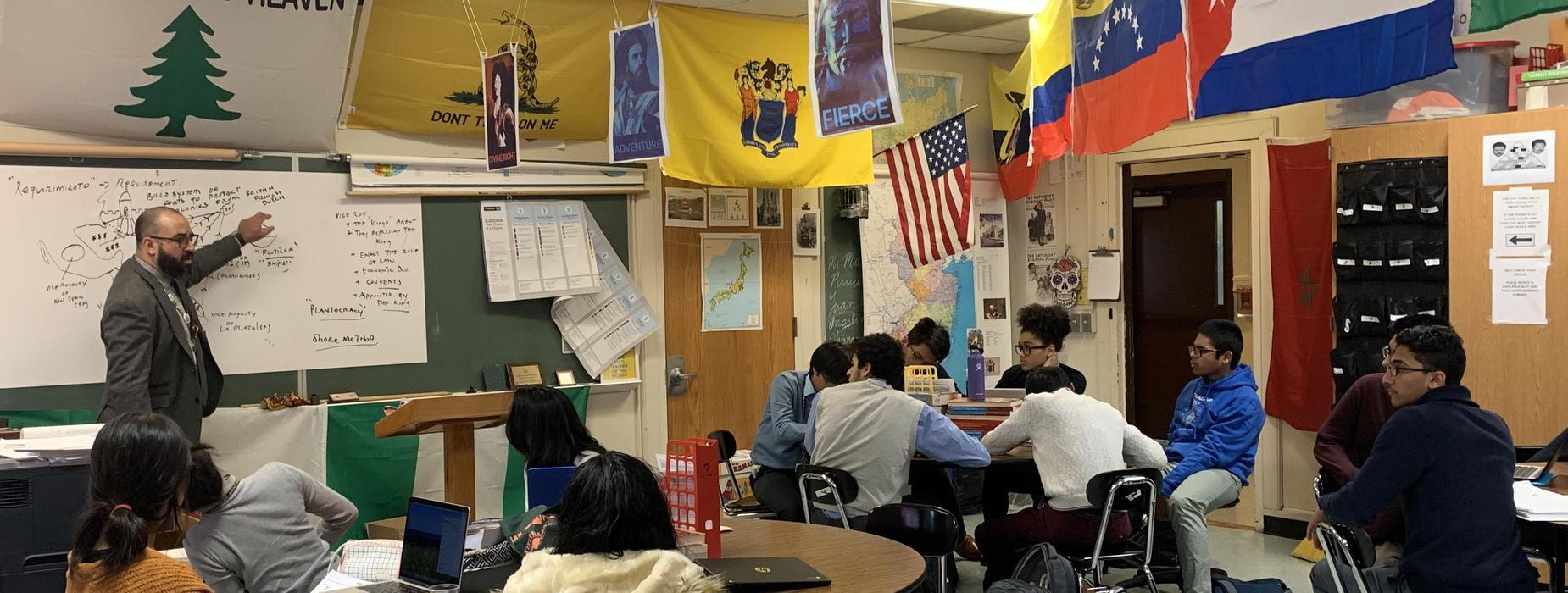 Mr. Maldonado engaging his students.
