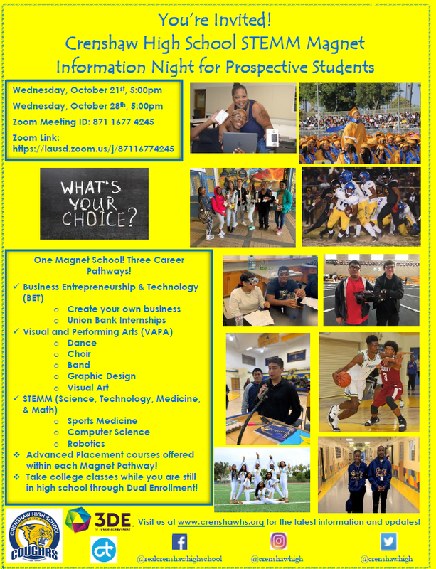 Prospective students and families are invited to our Crenshaw High School STEMM Magnet Information Nights! Featured Photo