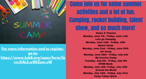 Come join us for some summer activities and a lot of fun. Camping, rocket building, talent show, and so much more!.png