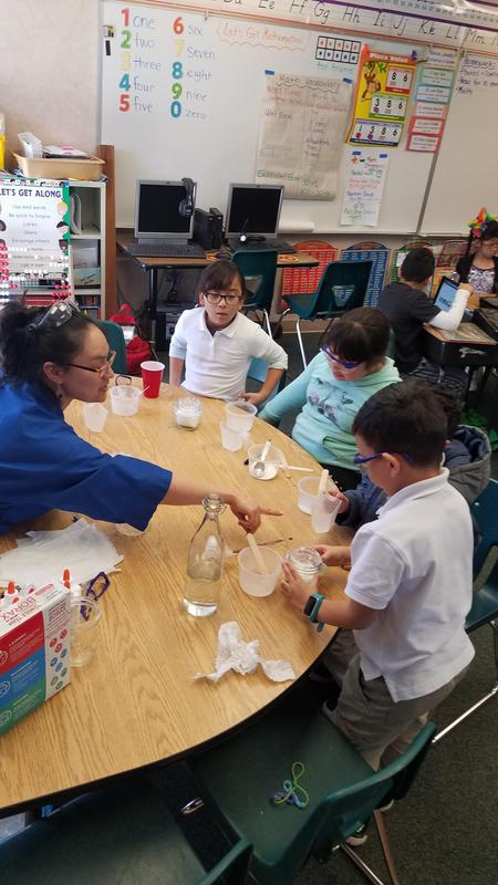 students working with their teacher on their experiment
