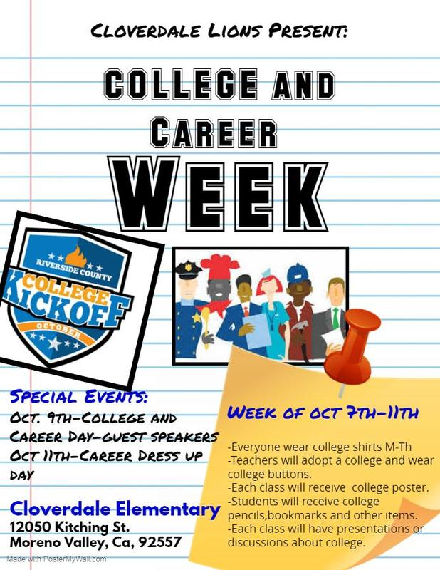 College & Career Week at Cloverdale. Wear your college shirts all week. Wednesday we will have guest speakers. Friday dress up for your dream job!