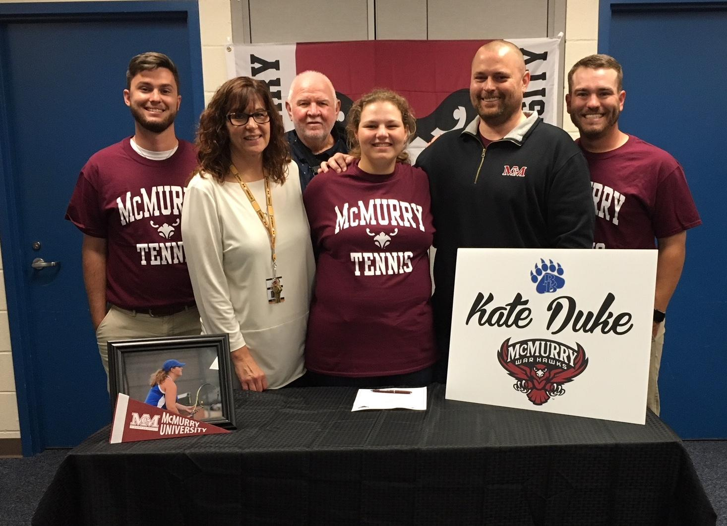 Kate Duke signs to play tennis at McMurry University.