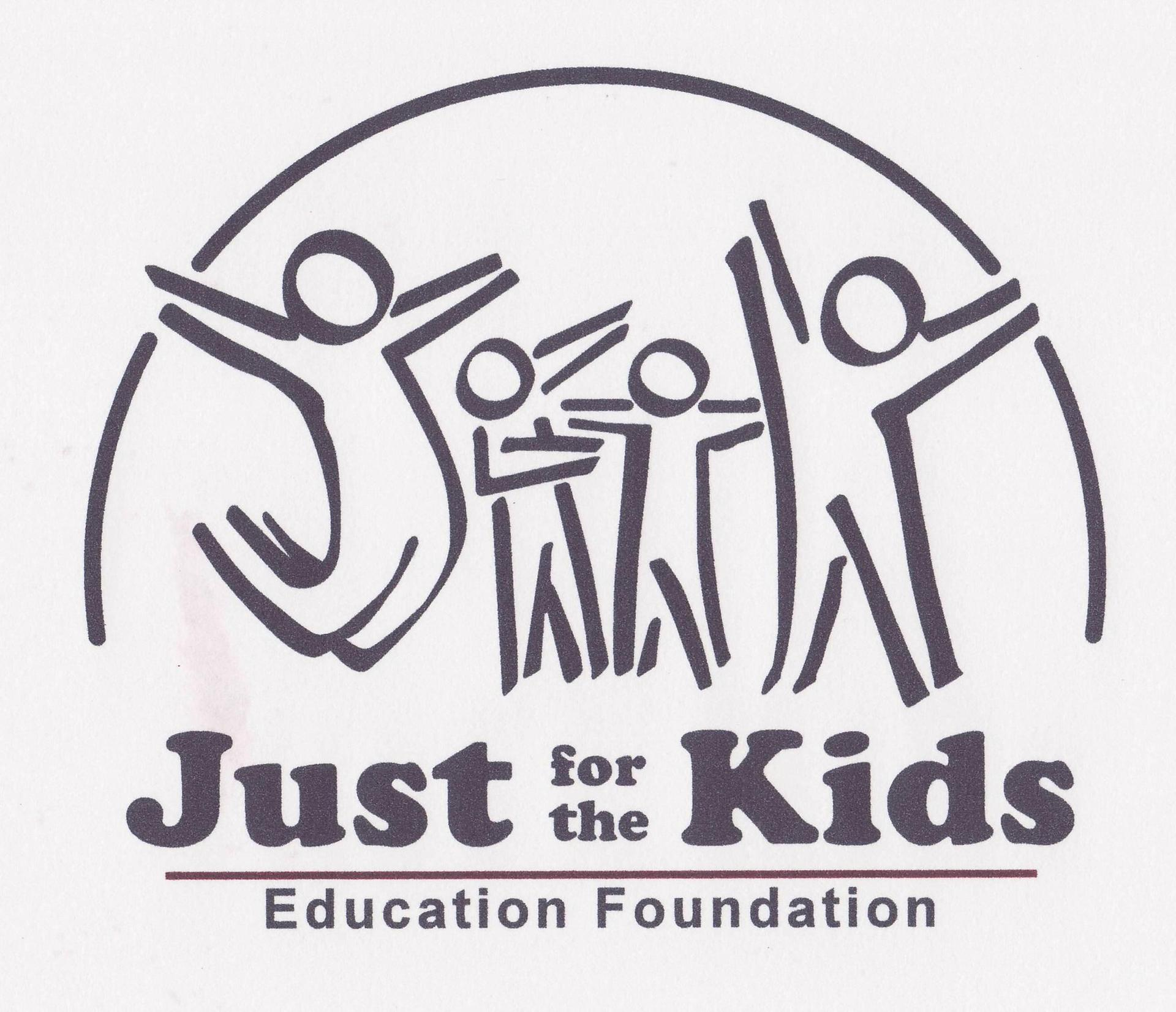 Just for the Kids Logo - Black and White with stuck figure kids with their arms in the air