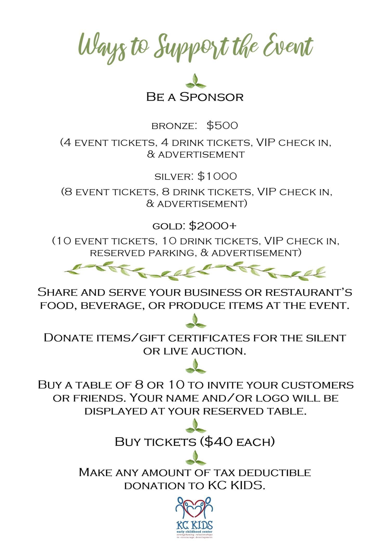 TOV Ticket and Sponsor Info