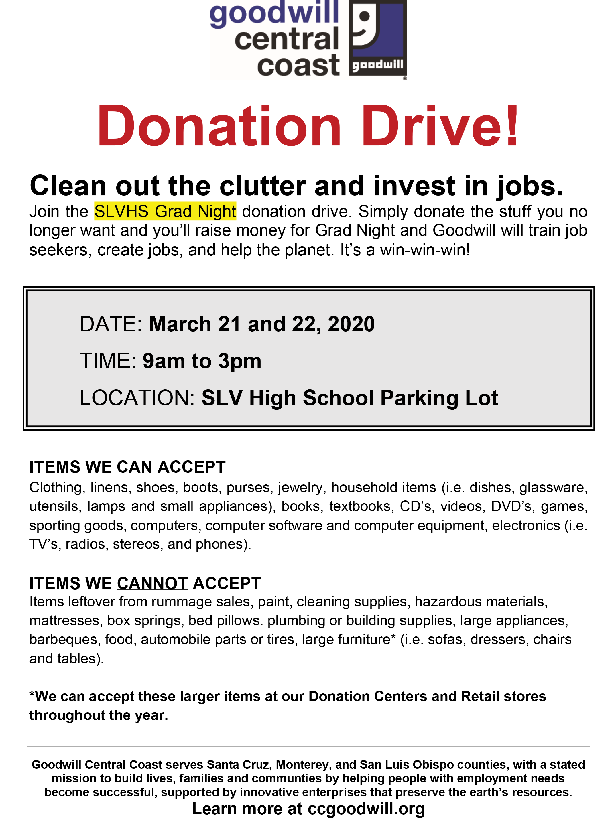 goodwill donation drive March 21-22 9am to 3pm SLVHS parking lot