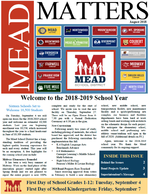 August 2018 Mead Matters Community Newsletter Featured Photo