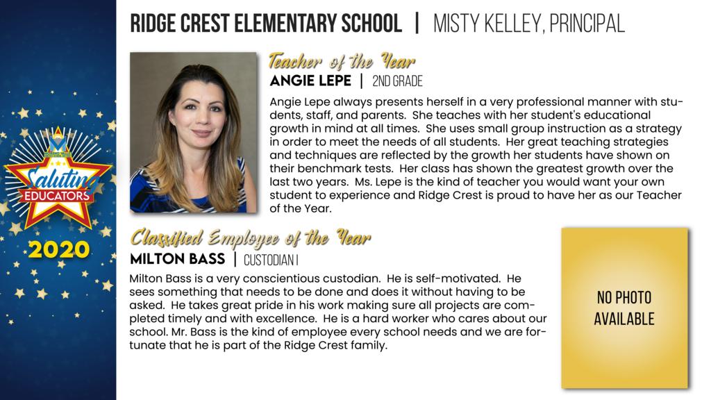 Ridge Crest Elementary Employees of the Year