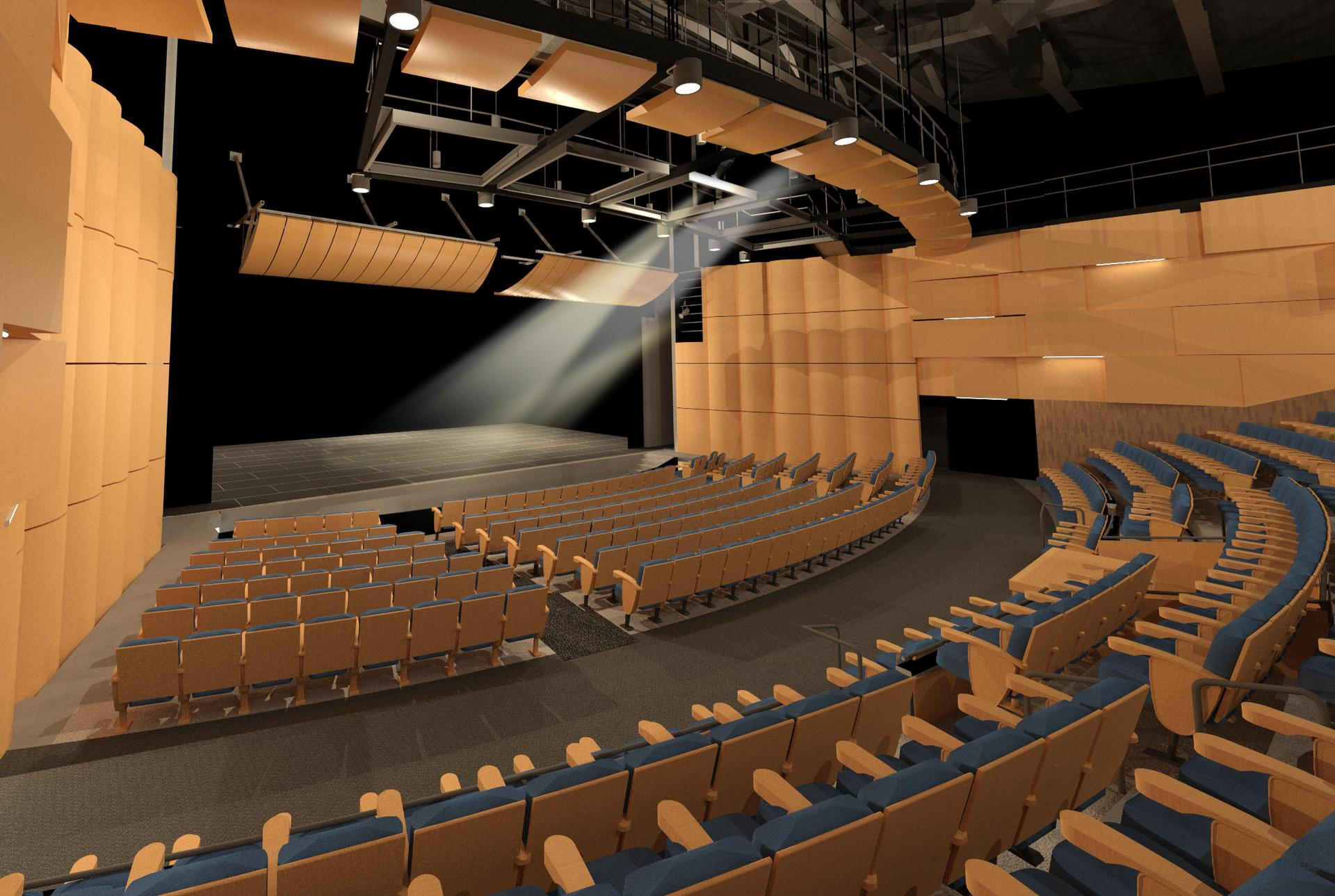 Interior view of the planned Performing Arts Center at Moreno Valley High School.