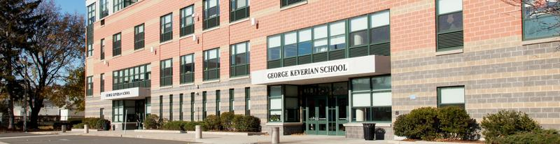 A sideway view of the front exterior of the Keverian School