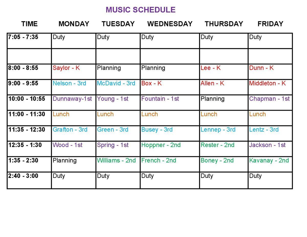 Music Schedule 2019-2020