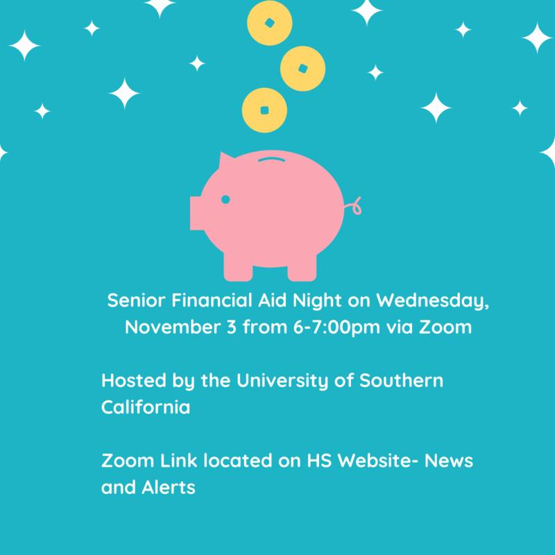 Senior Financial Aid Night on Wednesday, November 3 from 6-7pm via Zoom Thumbnail Image