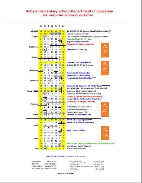 2021-2022 Kahala Elementary School Calendar