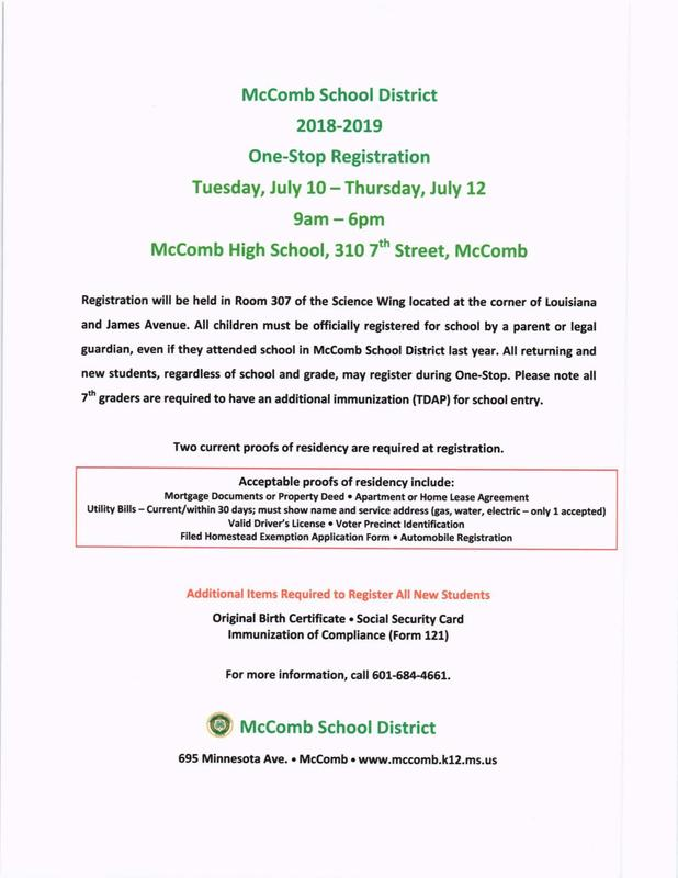 One-Stop Registration at McComb High School July 10 - July 12, 9am - 6pm daily