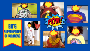 Students dressed as superheroes collage