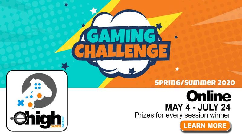 RJA Gaming Challenge Flyer. Gaming Challenge in eHS orange letters inside a white cloud with a teal and orange background. eHigh gaming logo with remote control on the bottom left corner and the words: Spring/Summer 2020, Online May 4-July 24 Prizes for every session located on the bottom right of flyer.
