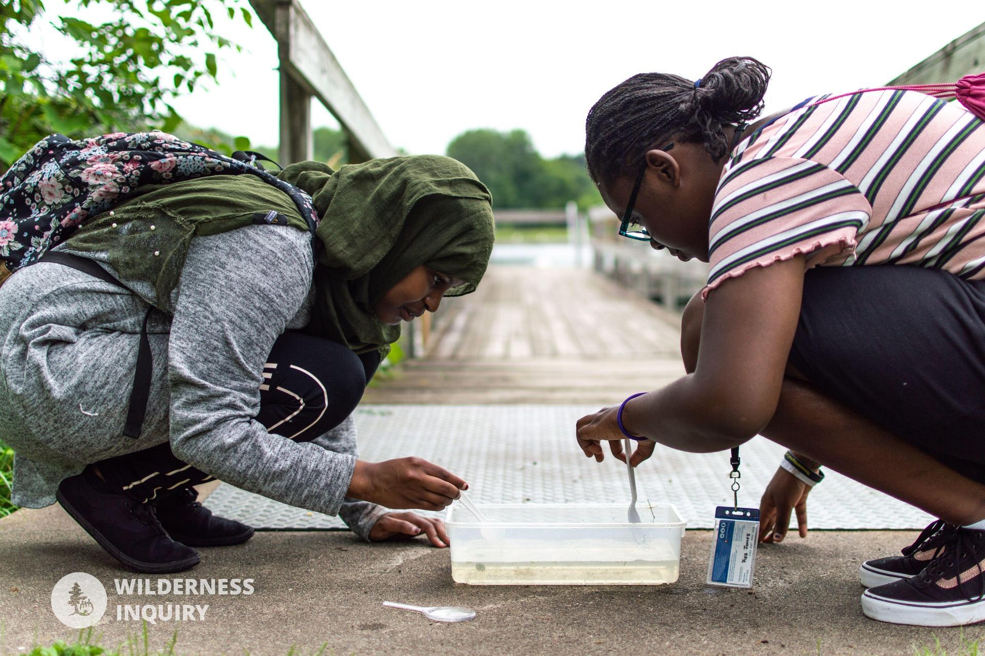 Scholars examining aquatic life