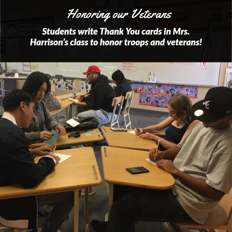 Students make cards for Veterans Thumbnail Image