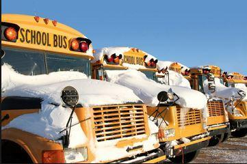 School buses covered with snow