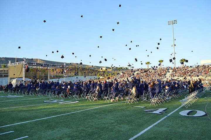 Hat throwing at graduation