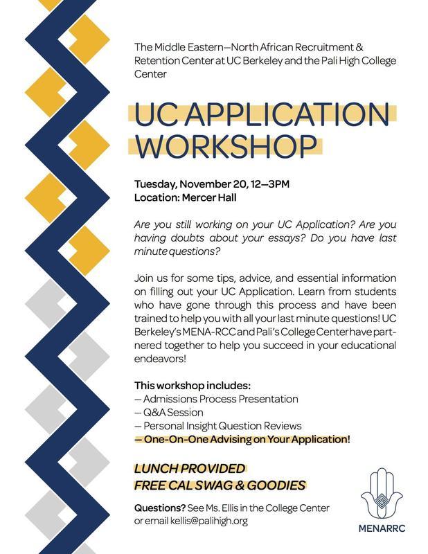 UC Application Workshop - Tuesday, November 20, 2018 Thumbnail Image